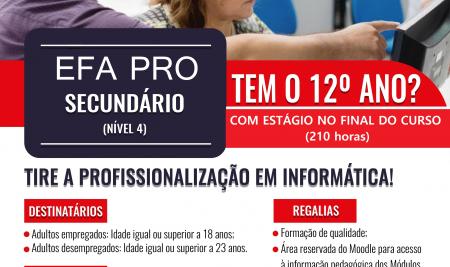 Pós-Secundário (EFA-Pro) – Abertura de Inscrições para a Profissionalização em Informática —>